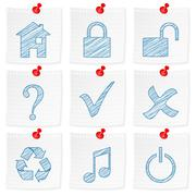 Paper note and drawing symbol Stock Illustration
