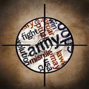 Sotilaallinen tavoitteen armeija teksti Kuvituskuvat