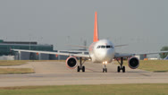 Stock Video Footage of airplane taxis down the runway easyjet airbus a320