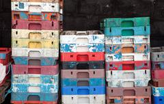 Stock Photo of fish crates plastic boxes