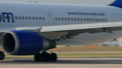 Plane taxis on the runway for take off Stock Footage