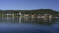Boat trip on lake Titisee, Black Forest Germany Stock Footage
