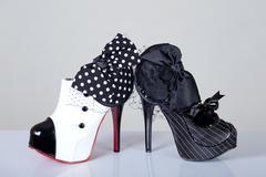 Cabaret style female shoes Stock Photos