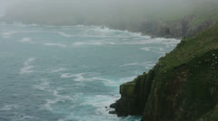 Misty Cliff Atlantic Ocean Coast Land's End - 29,97FPS NTSC Stock Footage