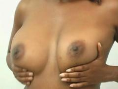 Busty Black Beauty Topless (6) - stock footage