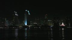 San Diego Harbour Night Reflecting Lights HD Video Stock Footage