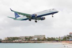 st martin, antilles - july 19, 2013: jetblue is the fastest growing airline i - stock photo