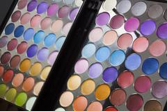 Colourful display of eye make-up Stock Photos