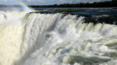 The Amazing Iguazu Falls 2, Zoom out, huge waterfalls - stock footage