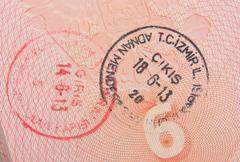 Close-up turkish 2013 year customs stamps Stock Photos