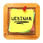 Stock Illustration of Webinar. Yellow Sticker on Bulletin.