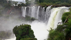 The Amazing Iguazu Falls, 1, panoramic long shot, huge waterfalls - stock footage