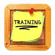 Stock Illustration of Training. Sticker on Bulletin.