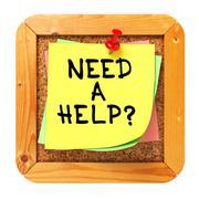 Need a Help?. Sticker on Bulletin. - stock illustration