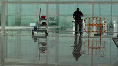 Cleaning service at the barcelona airport Stock Footage