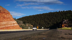 Freight truck on road. Truck driving on freeway. Eighteen Wheeler.  - stock footage