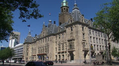ROTTERDAM City hall in Central district, Coolsingel + traffic - stock footage