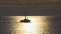 Fishing boat silhouette Stock Footage