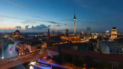Berlin Skyline Light City Timelapse with Speed Boats and Traffic Stock Footage