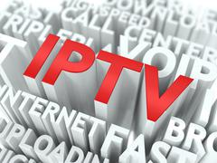 IPTV. The Wordcloud Concept. Stock Illustration
