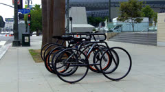 Bike Rack With Bicycles In Downtown Los Angeles CA Stock Footage