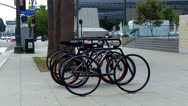 Stock Video Footage of Bike Rack With Bicycles In Downtown Los Angeles CA