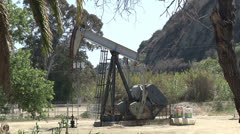 Oil Pumpjack Donkey Palm Trees Petroleum Production Crude Industry Stock Footage
