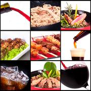 Different meat dishes and alcohol drinks Stock Photos