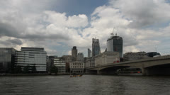 River traffic and new additions to the London skyline Stock Footage