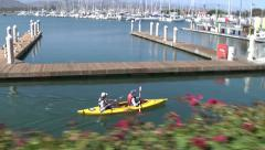 Active Seniors Kayaking Paddling Harbor Outdoor Exercise Happy Fun Sunny Stock Footage