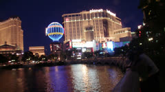 Planet Hollywood and Paris at Dusk Stock Footage