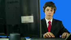 Young Business Boy In Office Doing Work Stock Footage