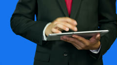Young Business Man Typing on Tablet PC Close up Stock Footage