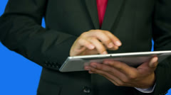 Business Boy Tapping On Tablet PC Stock Footage