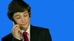 Close up of Business Boy On The Phone Stock Footage