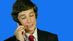 Young Business Boy Making A Call With A Smile Stock Footage