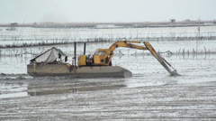 Yellow Excavator in the wetlands Stock Footage