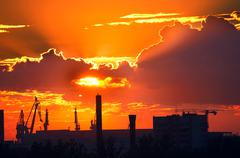 Evening over the industrial area of st. petersburg Stock Photos