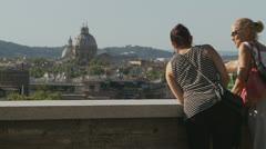 Two women admire Rome view 3 (slomo dolly) Stock Footage