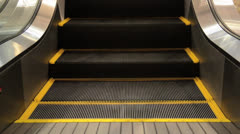 Movement of the  escalators stairway inside contemporary shopping center Stock Footage