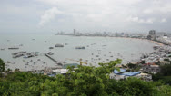 Stock Video Footage of Panorama view of seascape at Pattaya bay, Chonburi, Thailand