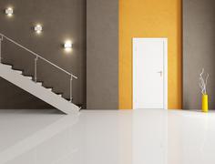 minimalist home entrance - stock illustration
