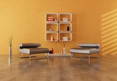 Minimalist orange and brown interior Stock Illustration