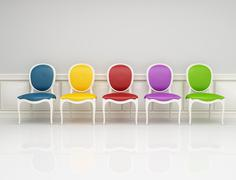 colored classic chair - stock illustration