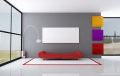 Stock Illustration of colored minimalist living room