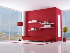 red interior of a beach villa - stock illustration