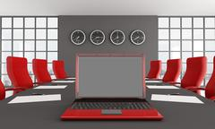 red and black meeting room - stock illustration