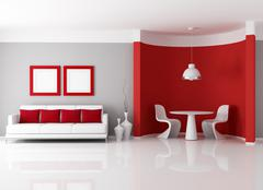 contemporary dining room - stock illustration