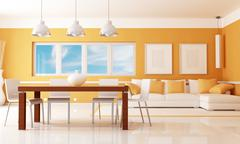modern dining room - stock illustration