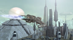 Animation of futuristic spaceships above pyramid city Stock Footage